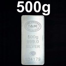 500g  Fine Silver Bar, *** NO RESERVE PRICES ***