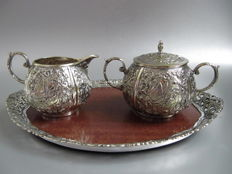 Silver plated Art Nouveau cream set with GRiffin, butterflies and flowers, 1st half of the 20th century