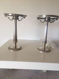 Pair of metal lamps in Sterling silver