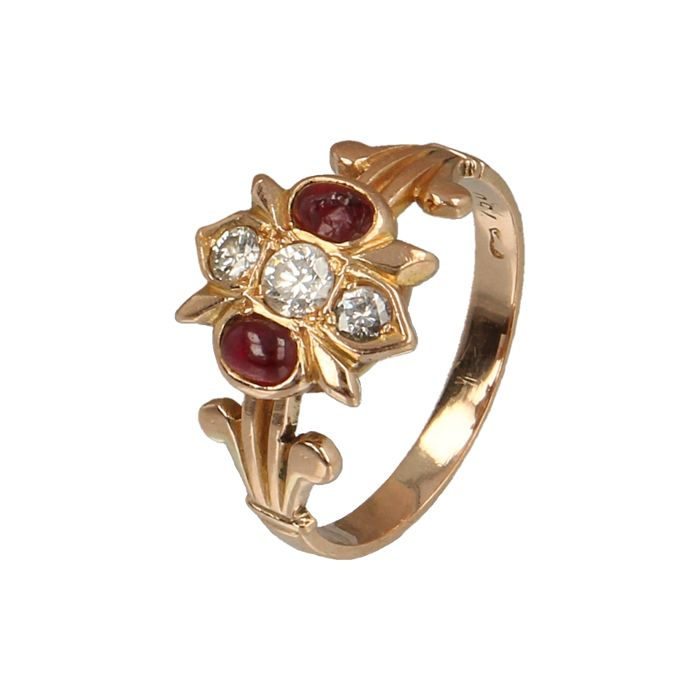 Vintage Ring Gold Two Rubies Two Diamonds