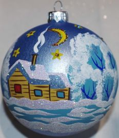 75 Hand-painted glass Christmas baubles, 10 cm