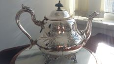 Hallmarked with crown victorian/geogian tea pot silver plated made in england.