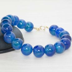 Bracelet of Kyanite with clasp and beads of 18 kt Gold - Length 20 cm