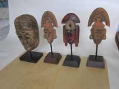 Lot of 4 masks Africa 20th century