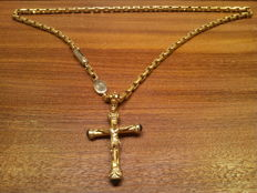 BARAKA necklace in 18 kt yellow gold. With crucifix. 55 g.