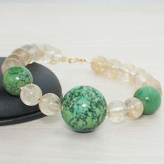 Bracelet of Citrine and Turquoise with clasp and beads of 18 kt Gold - Length 22 cm