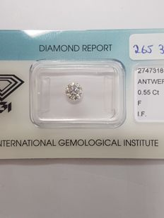 0.55 ct brilliant cut diamond, F, IF
