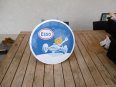 Convex enamel advertising sign - Esso - 1970s