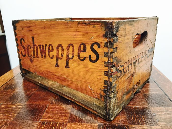 Wooden Schweppes crate - 1969