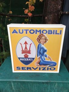 Large Maserati advertising dealer lightbox  banner garage item - late 20th century