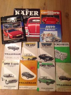 12 Old Automobile books 1960s to 1980s various brands among others BMW, Ford, VW, Mitsubishi