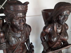 Pair of Igorot sculptures (hunter and huntress) and Igorot bust - Manila, Philippines, second half of the 20th Century