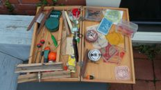 Antique fishing tackle box with content fishing rod case wood floats reel etc.