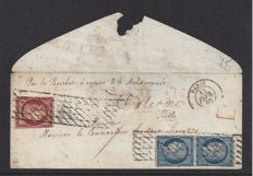 France 1849/1852 – Emission First Ceres,  4F50c Rate to Sicily – Letter to Sicily (Italy) with Yvert no. 4 in pair and no. 6.