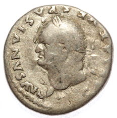Roman Empire - AR denarius  - Vespasian - Modius - 17mm 2,70 g