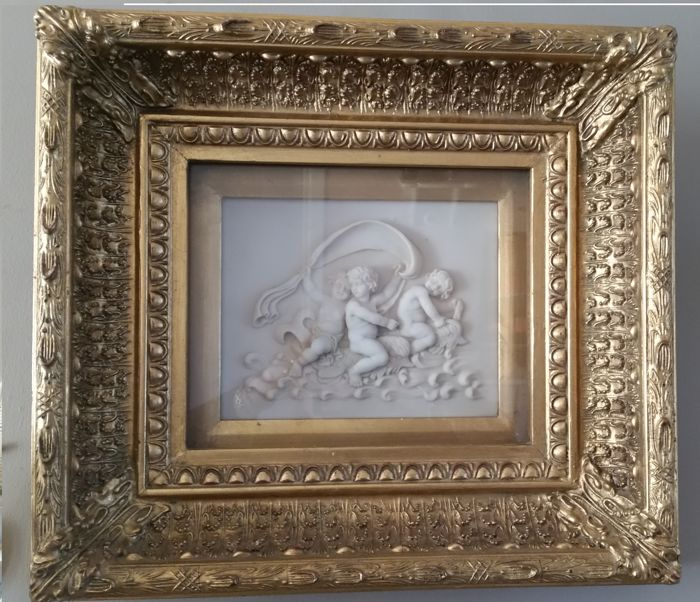 Alabaster plaque in large gold-plated display case frame by Biggs ...