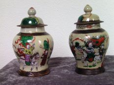 Two large nanking polychrome vases with lid - China - circa 1900