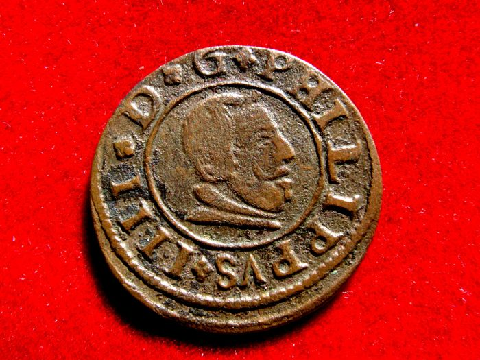 Spain – House of Austria, Felipe IV (1621–1665). Copper coin of 16 maravedis. Madrid.  1663.