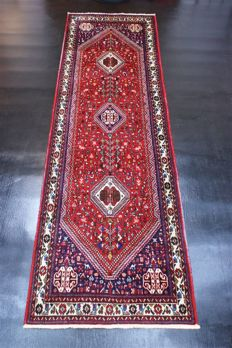 Handwoven original Persian carpet oriental Qaschghai  approx. 287 x 83cm. Good condition, Iran