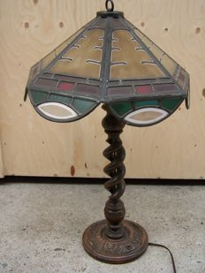 Art Deco stained glass table or desk lamp -approx. 1920 - possibly Germany or France