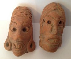 Pre-Columbian Michoacan pottery heads - Mexico - 4 cm