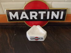 Martini enamel Sign and Porcelain Ashtray.