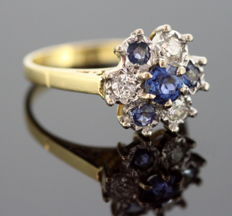Vintage 18K Yellow Gold Ladies Ring With Blue Sapphire (0.71 CT Total) and Diamonds (0.30 CT Total), Sheffield 1991, By MJJ - Size: (UK) = R (US) = 8 3/4 (EU) = 58 1/2
