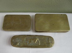 3x engraved copper tobacco box / snuff box - The Netherlands - 18th century
