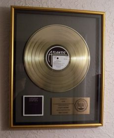 AC/DC Back In Black 1980 LP RIAA Gold Record Award Atlantic Records