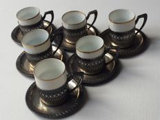 Antique Silver Coffee Cups, Germany 1890