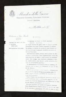 Report to his Majesty with signature of Benito Mussolini - 1933