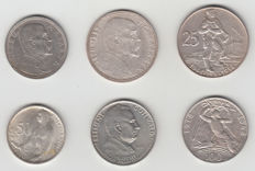 Czechoslovakia – 1928/1954, 6 different coins – silver