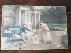 Jules Girardet. Napoleon and his child. Antique hand coloured print. France 1890-1900. Signature right lower corner
