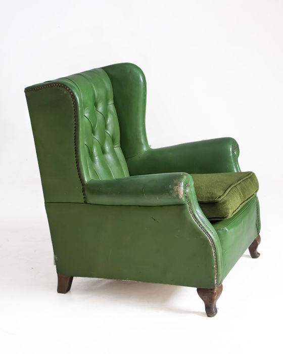 Mini armchair for children made in leather, mid-20th century.