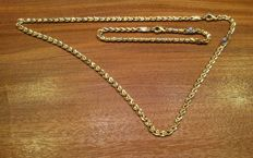 Two-tone 18 kt gold jewellery set Total weight: