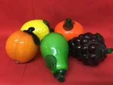 Beautiful real-sized fruit in glass - five pieces - ca. 1940, Murano, Italy