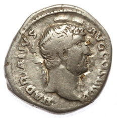 Roman Empire - AR denarius  - Hadrian  - Salus Aug - 18 mm 3,12g