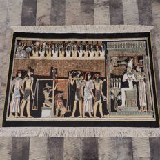 Oriental Hand Knotted Pure Silk Egypt Design Collectible Wall Hanging Rug - 91 x 61 cm