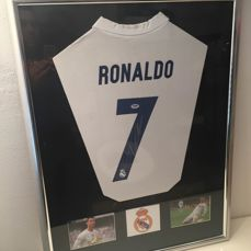 Signed Cristiano Ronaldo Real Madrid 2016 / 17 Shirt  Framed deluxe -with Certificate of Authenticity PSA/DNA