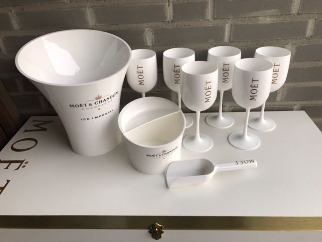Moët & Chandon Ice Imperial Champagne set of 6 glasses, 1 cooler and 1 ice bucket including ice scoop