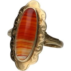 14 kt - Yellow gold ring set with an agate - ring size: 18.75 mm