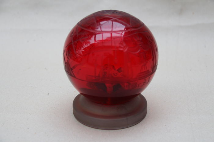 Red paperweight, Freemason, lodge, with included elephant made of bone