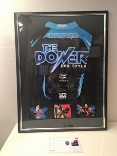 Phil The Power Taylor Signed 2017 Darts Shirt framed in a luxury black frame + coa