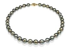 Lustrous 10x12.9 mm Tahitian Pearl Necklace Set with an 18K Yellow Gold Clasp - Authenticity Certificate