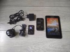 Lot of 4 vintage devices - Lenovo A3500 tablet, Samsung Galaxy Ace phone, Philips GoGear 4GB MP3 Player, Logitech Webcam C300