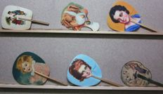 Nice collection of 6 Pai Pai (Hand fans) - c. 1940-50 - children, ladies, dog.