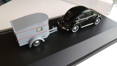 Schuco - Scale 1/43 - Set VW beetle with camping trailer Sportberger G2 - Limited Edition 1.500 & VW up! - Silver