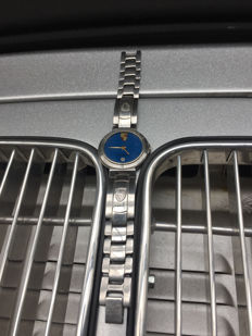 Porsche wristwatch with date stainless steel with blue dial 34 mm
