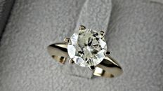 2.55 ct  round diamond ring made of 14 kt  gold - size 7