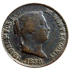 Spain - Isabella II (1833-1848) - 25 centimos of a real (3.74 g - 19 mm) - 1858 - Segovia